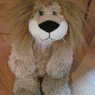 Animal Adventure Plush Beige Tan Laying Lion Fluffy Mane Leopard Spot Ribbon Flat Feet