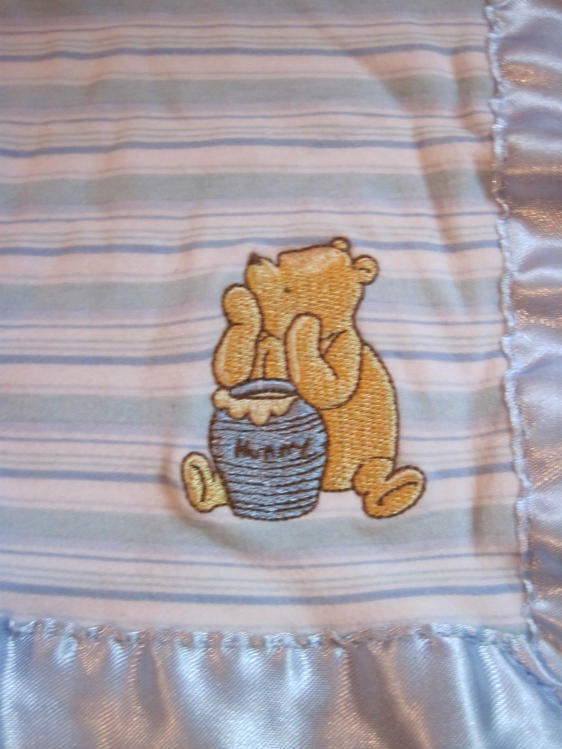 Classic Winnie The Pooh Blue White Stripes Lovey Security