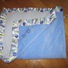 Carters Just One Year Blue Velour Baby Blanket Sherpa Back Satin Polka Dot Trim J4870