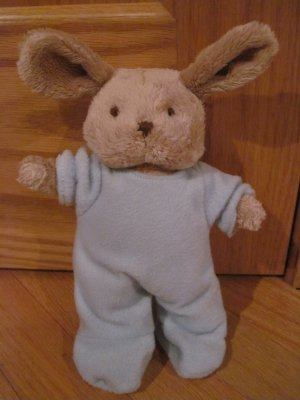 Russ Berrie Tan Beige Plush Bunny Rabbit with Blue Footie Pajamas PJs 37254