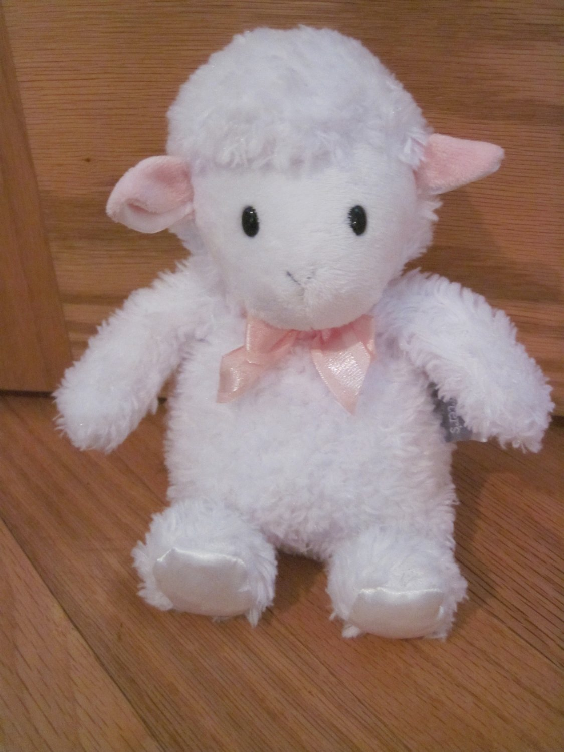 Carters Plush White Lamb Rattle Pink Ears Bow Ribbon Satin