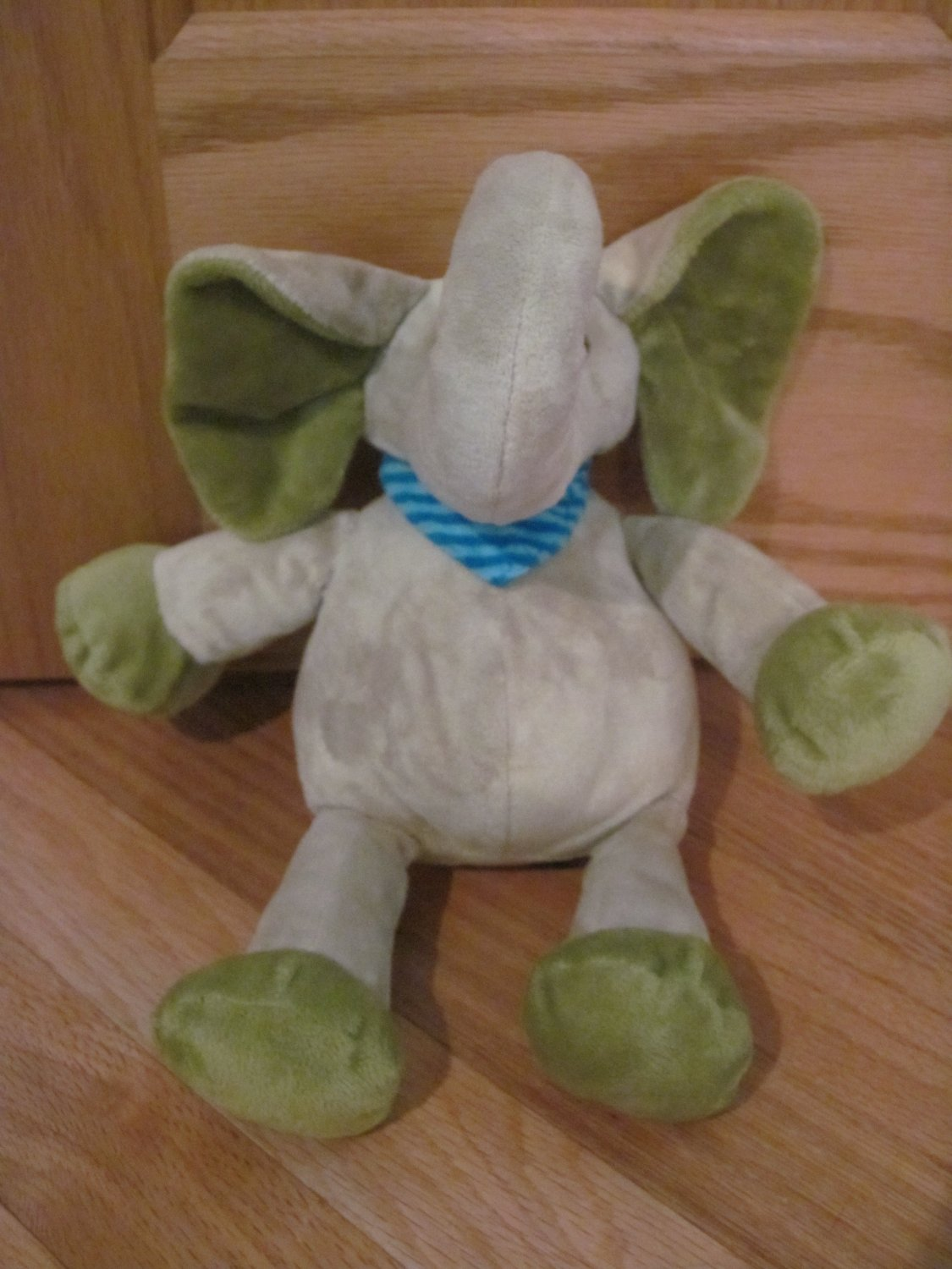 Old Navy Green Elephant Plush Stuffed Animal Blue Stripe
