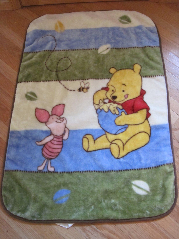 Disney Baby Winnie the Pooh & Piglet Blue Green Cream Brown Luxury Plush Baby Blanket
