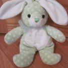 Walmart Plush My First Easter Bunny Rabbit Green White Polka Dots Tummy