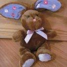 "Target Galerie Dark Brown 9"" Posey Bunny Purple Poseable Ears Plush Flower Rabbit w/Bow"