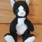 Russ Berrie Black & White Claudia Kitty Cat Green Eyes Plush Beans Toy 3246 9706