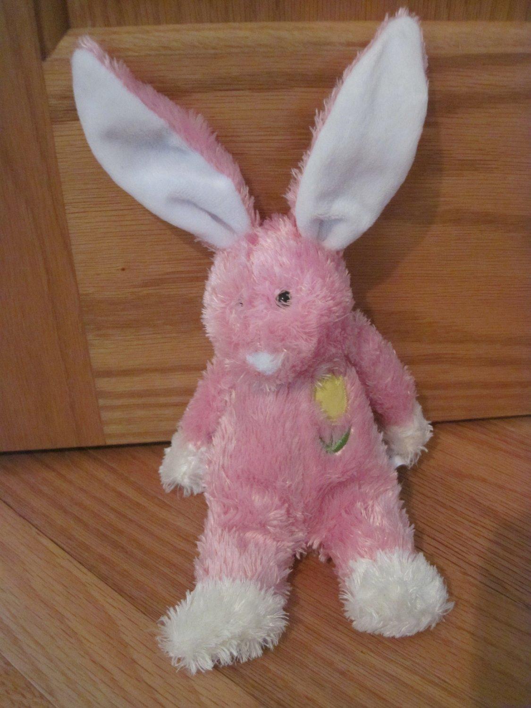Animal Adventure Plush Pink Bunny Rabbit Pink Ears Yellow