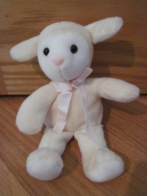 Kellytoy Small Cream White Plush Lamb Pink Nose Ribbon Beans