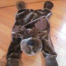 Wishpets Brown Plush Matthew Moose Deer Pajama Pouch Lovey Security Blanket Zipper Side 93026