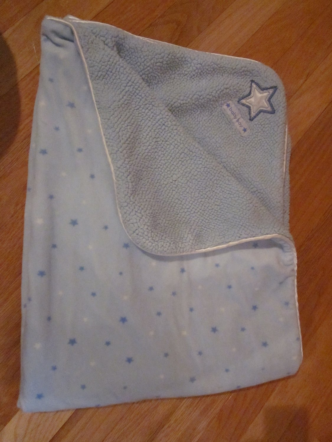 Carters Just One Year Blue and White Minky Sherpa Baby Boy Star Blanket No Tags