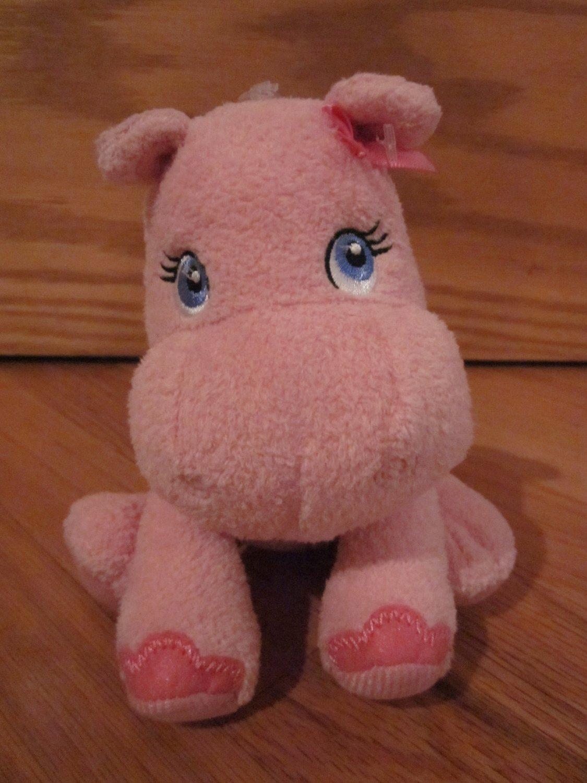 Garanimals 6 Inch Pink Plush Hippo Baby Toy Blue Eyes Pink Bow 82595