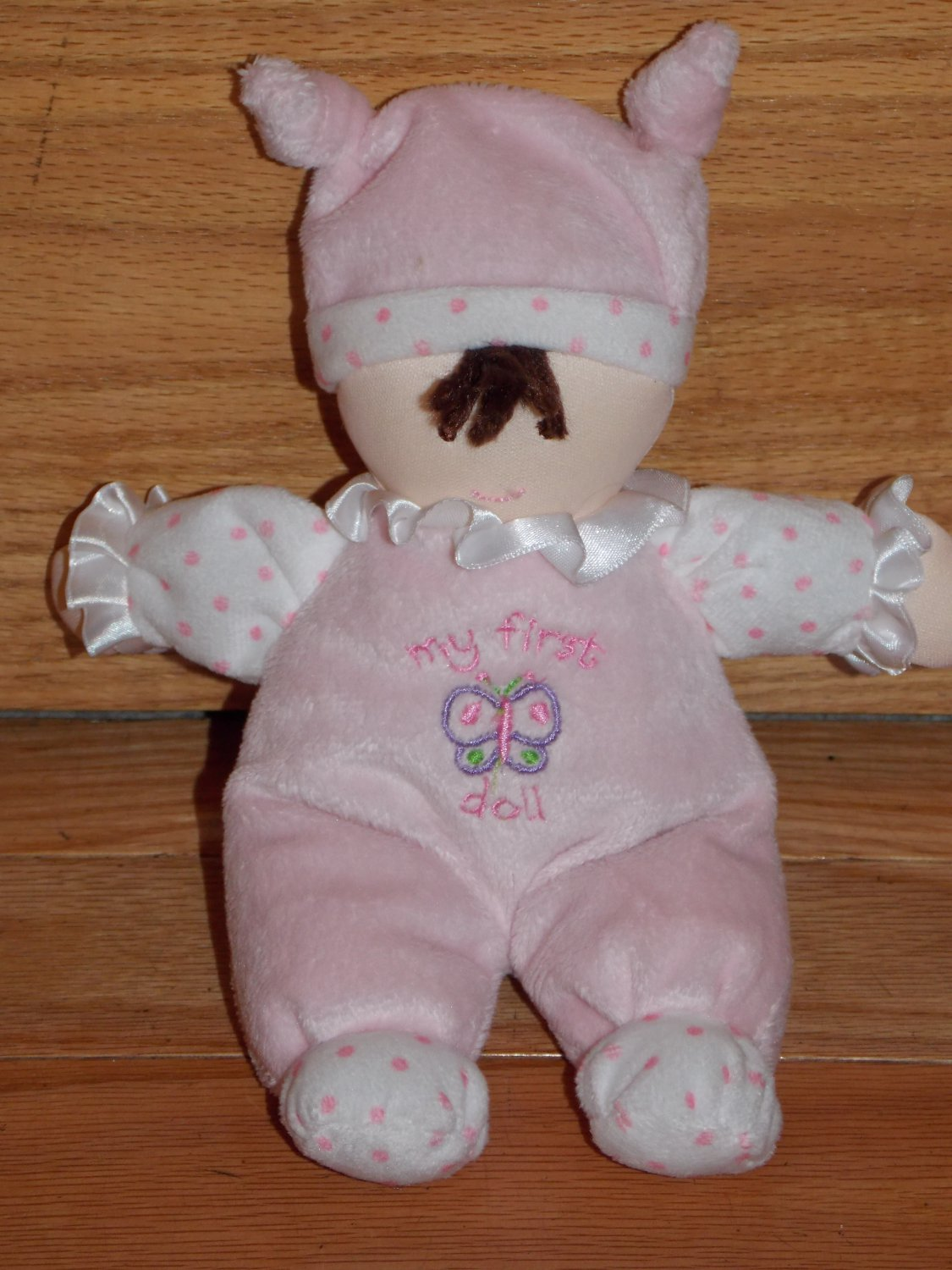Kids Preferred My First Doll Pink White Velour Dot Butterfly Brown Hair Plush Baby Toy