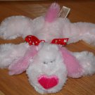 Dandee Pink Plush Laying Puppy dog Heart Nose Red Love Ribbon