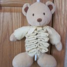 Carters Just One Year Plush Tan Beige Musical Pull Toy Teddy Bear Yellow Gingham Accordion 44525