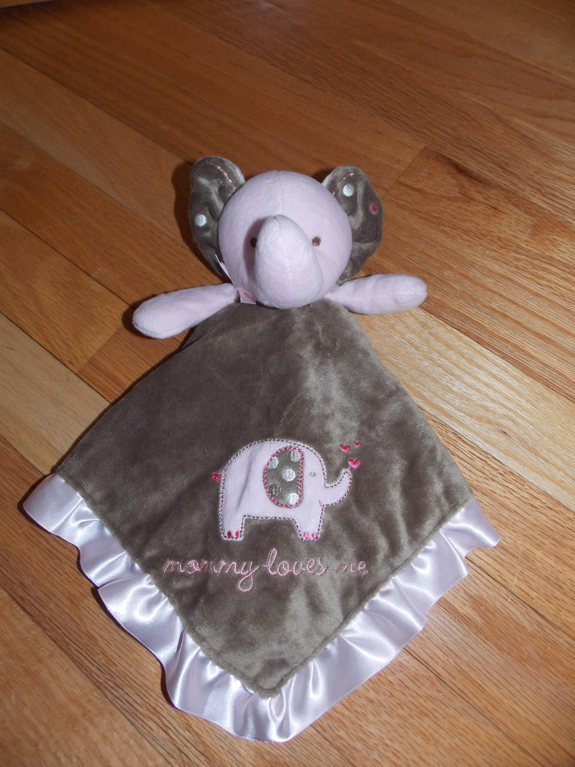 Carters Pink Brown Mommy Loves Me Elephant Security Blanket Lovey Dot Ears X22983H