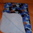 Target Circo Blue Brown Tan Camoflage Baby Blanket Minky Sherpa