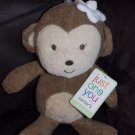 Carter's Just One You Plush Brown Monkey White Flower Baby Toy Rattle 63015