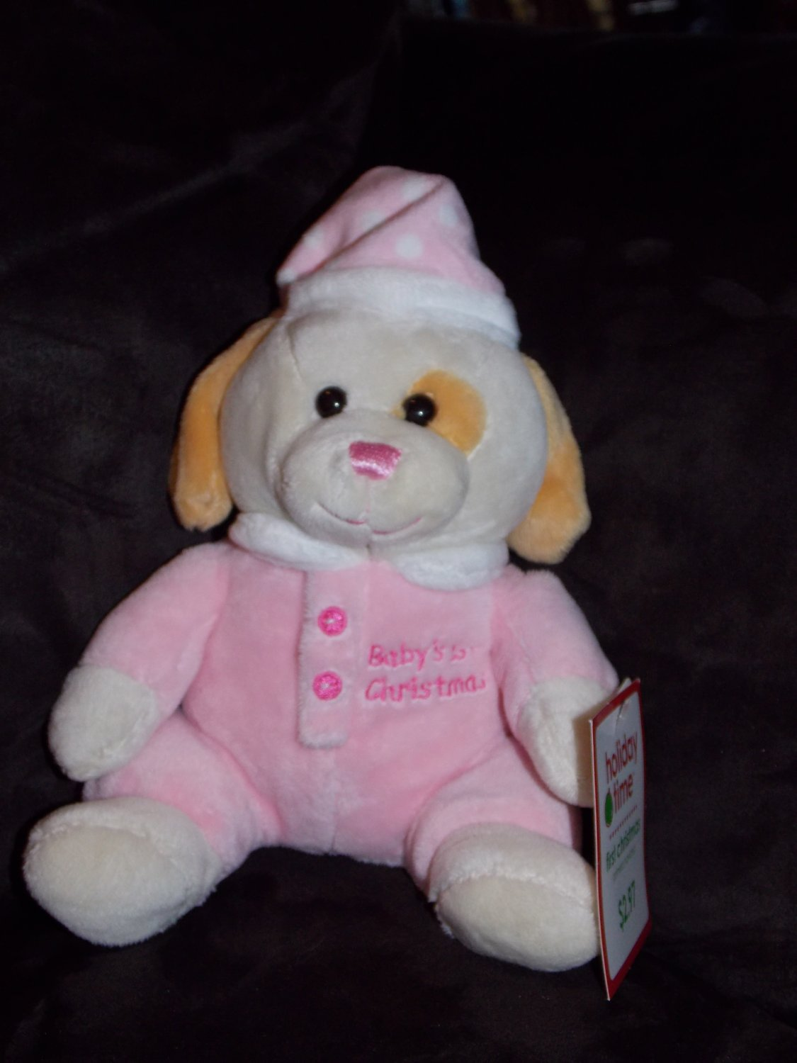 Walmart Pink Baby's 1st Christmas Sitting Puppy Dog Pink Hat Buttons