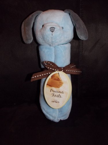 Precious Firsts Blue Puppy Dog Security Blanket Lovey Gray Ears Blue Bow Y24056H