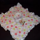 Carters White Flower Floral Teddy Bear Security Blanket Lovey Satin Ruffle L24299H