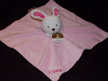 Carters Child of Mine Pink White Mommy Loves Me Bunny Rabbit Security Blanket Lovey Satin F24338H