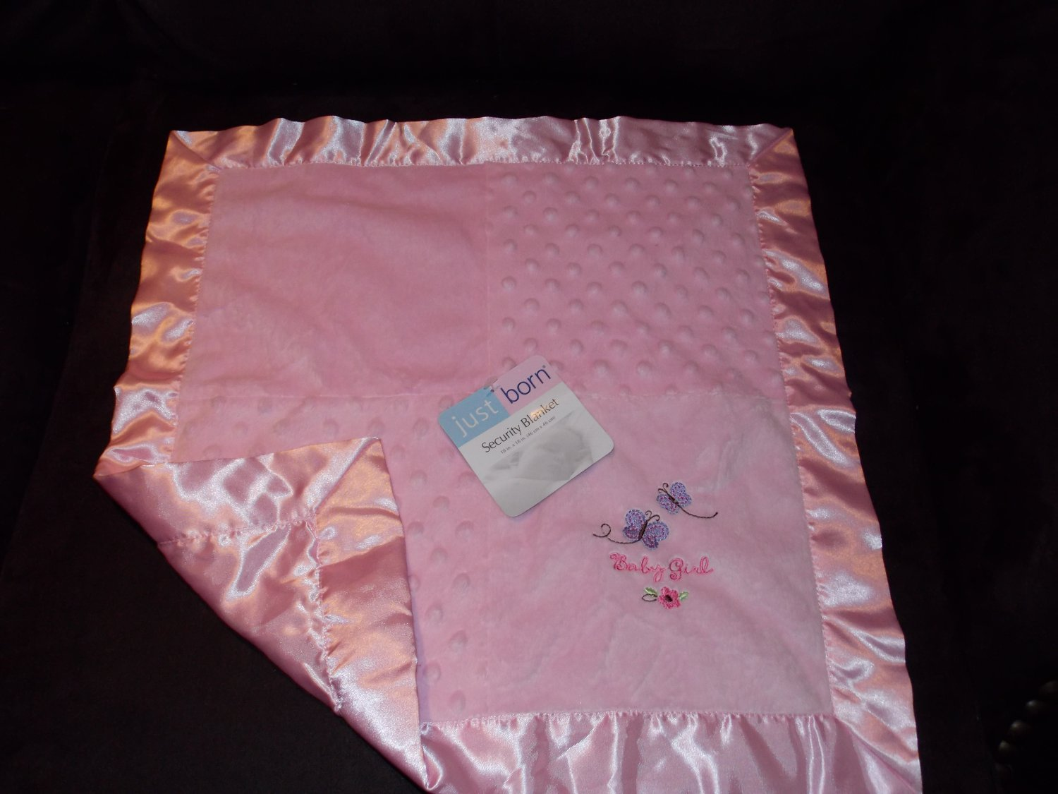 Just Born Pink Baby Girl Butterfly Minky Dot Lovey Security Blanket NWT