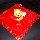 Disney Winnie the Pooh Red Minky Satin Security Blanket Lovey NWT