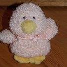 Russ Berrie Plush Peach Pink Duck Named Chapsy with Bow Tie Terry Cloth 4578 9801