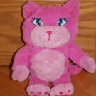 Pink Plush Kitty Cat Blue Stitched Eyes Pink Heart Nose Toy