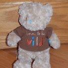 Tan Beige Plush Born to be Wild Messages Teddy Bear Wishes & Kisses Sandra Magsamen Brown Shirt