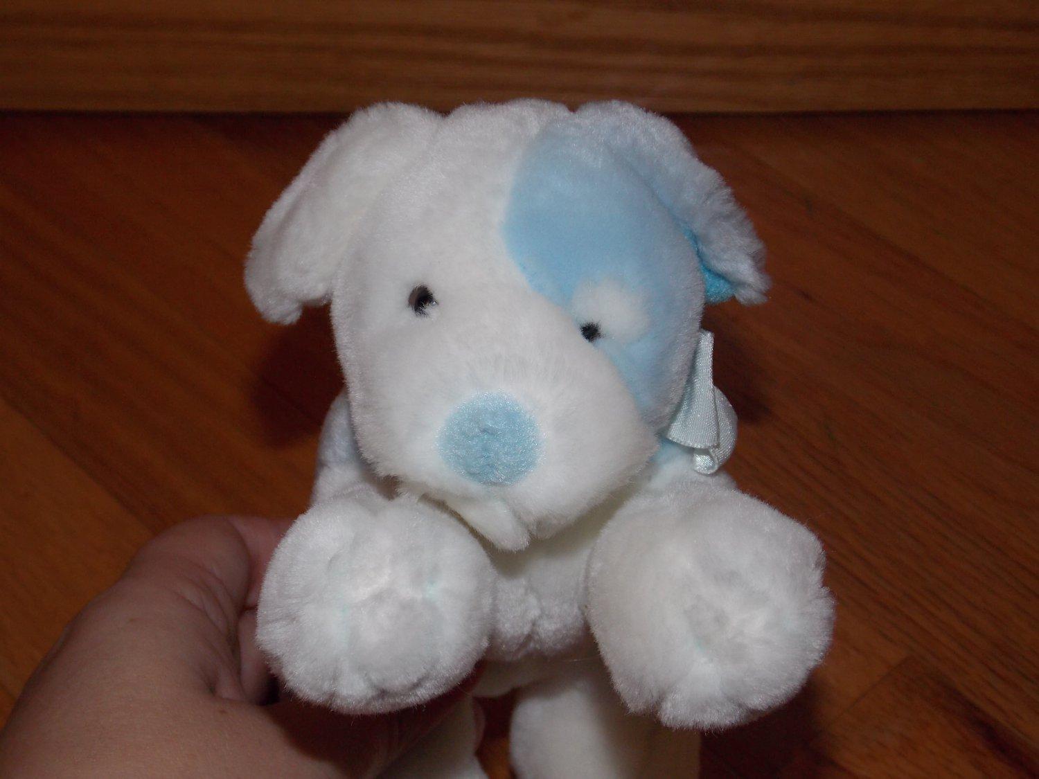 Russ Berrie Blue & White Plush Puppy Dog Rattle Named Sammy 9270