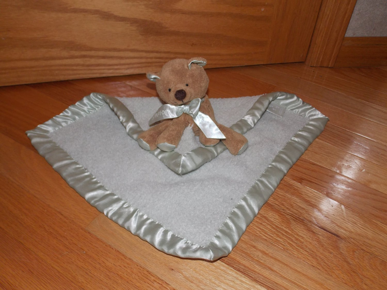 Bearfoot Dreams Brown Teddy Bear Gray Security Blanket Lovey Plush Toy # 505