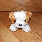 FAO Schwarz Plush Brown Cream Puppy Dog Laying Striped Collar