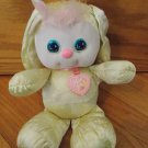Vintage 1989 Plush PJ Sparkles Yellow Bunny Rabbit Stars Heart Collar