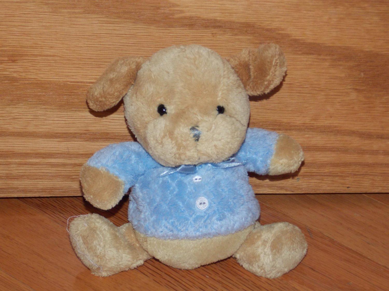 Carters Plush Tan Beige Puppy Dog Blue Shirt Ribbon Buttons Rattle 36519