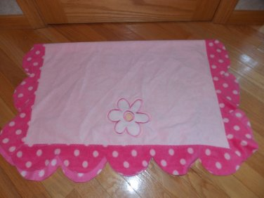 Carters Child of Mine Pink Polka Dot Petal Fleece Baby Blanket Flower