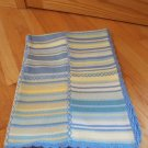 Pottery Barn Kids Blue Green Yellow Tan Knit Stripe Patchwork Baby Blanket Scallop Trim