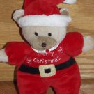 Carters Just One Year Plush Teddy Bear Wearing Santa Suit Hat Merry Christmas Rattle 99111