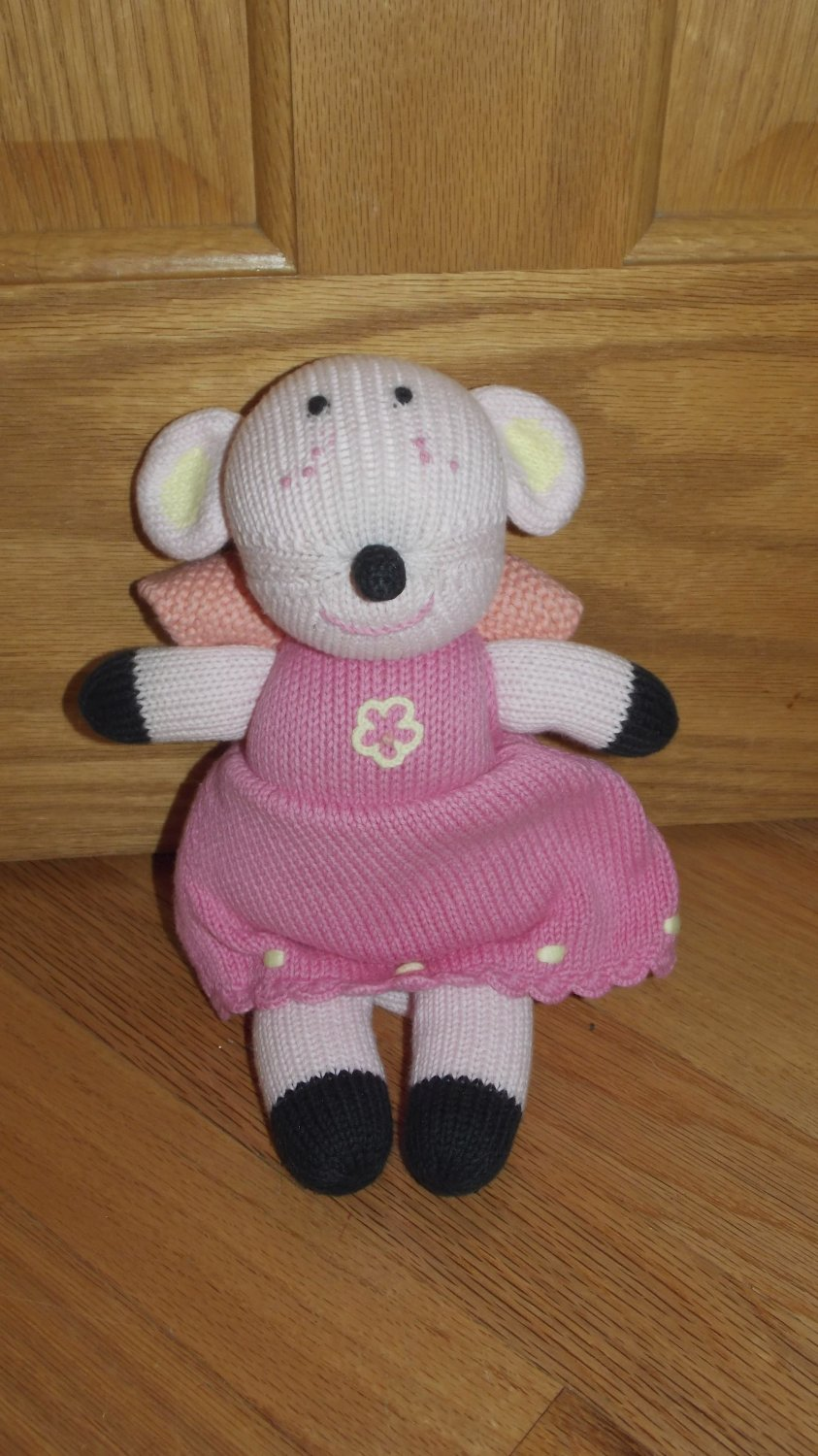 Hanna Andersson Plush Hand Knit Mouse Fairy Wings Doll