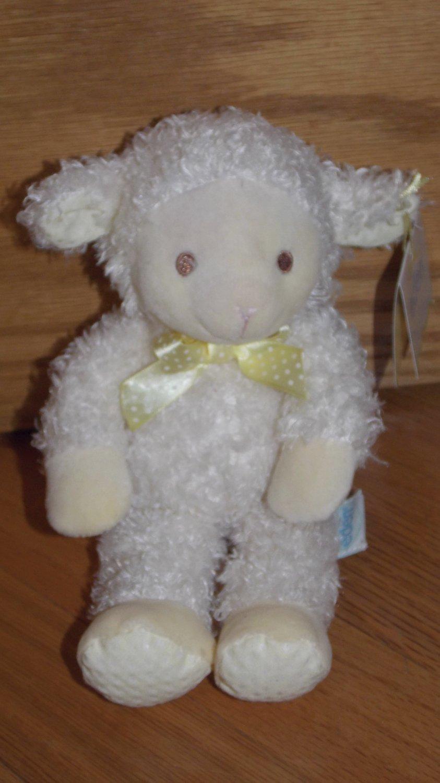 Eden Cream Plush Lamb Wearing Yellow Satin Ribbon Bow