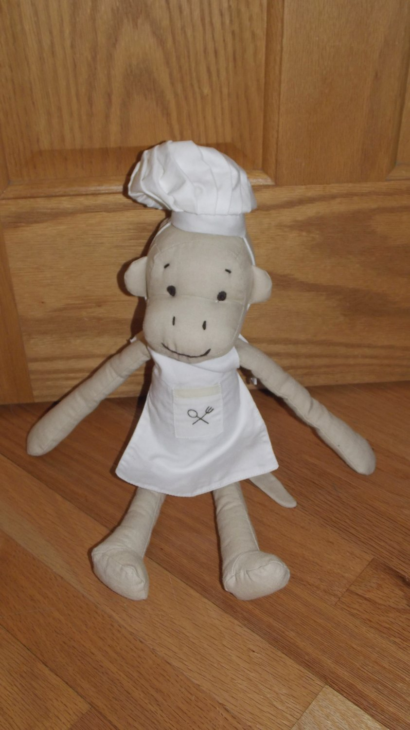Pbk Pottery Barn Kids Monkey Chef 15 Quot Linen Burlap Plush