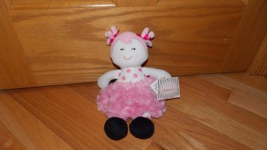 Baby Starters Plush First Doll Pink Polka Dots Swirl Fur Skirt Pony Tails Black Shoes A24040H