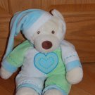 Baby Ganz 16 Inch Plush Blue Green White Bedtime Bear Teddy in Heart Pajamas Hat BG2260