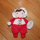 Prestige Red Reindeer Plush First Doll Brown Hair Rattle Stripe Feet 96009