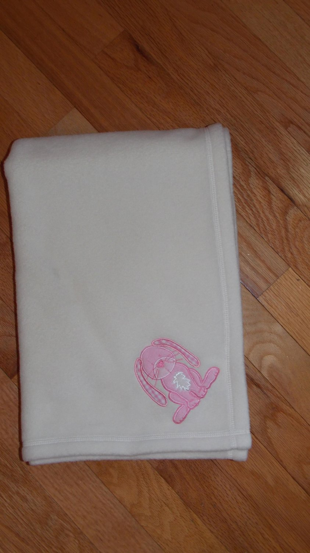 Pottery Barn Cream Fleece Pink Bunny Rabbit Baby Blanket
