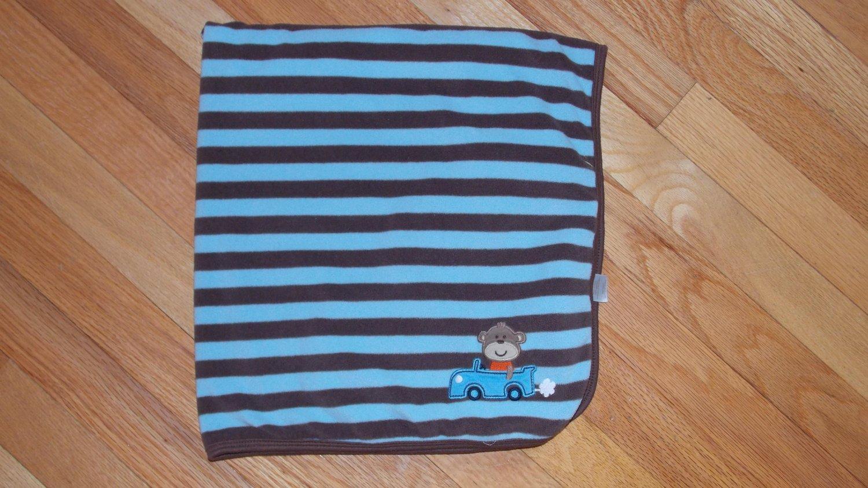 Carters Blue Brown Stripe Monkey Car Baby Blanket