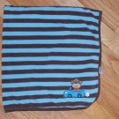 Carters Blue Brown Stripe Monkey Car Baby Blanket