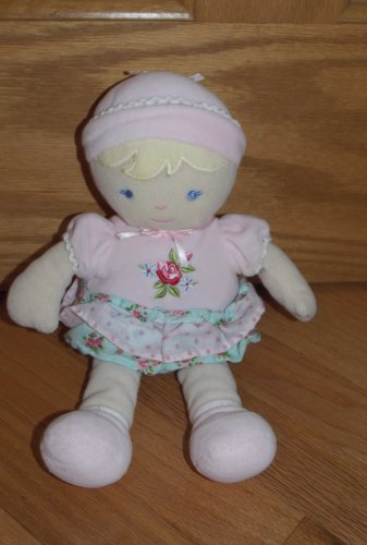 Carters PlushPink Baby Doll Dressed in Pink Blue Rose Ruffle Outfit Hat 8809
