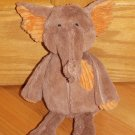 Pier 1 One Imports Plush Brown Orange Elephant Toy Textured Seams
