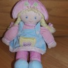 Baby Gund Plush Baby Doll Heidi 58301 Blond Yarn Hair Pastel Velour Outfit Hat Flowers